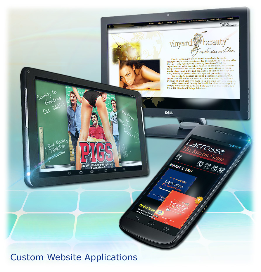Custom web applications, responsive design, online marketing